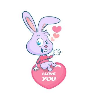Симпатичный рисованный кролик, сидящий на сердце
