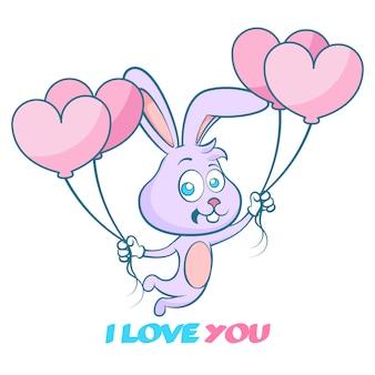 Счастливые валентинки, симпатичный рисованный кролик с воздушными шарами