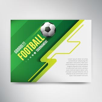 ボールと緑の背景にサッカーリーグカップポスター