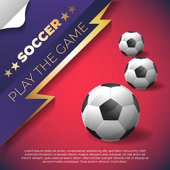 ボールと赤の背景にサッカーポスター