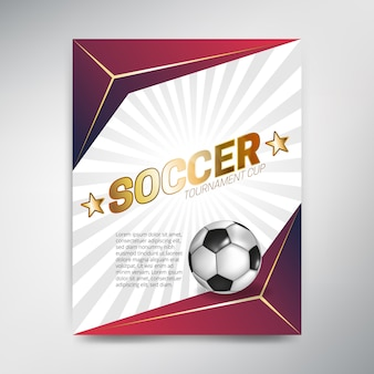 ボールと赤の背景にサッカートーナメントカップポスター