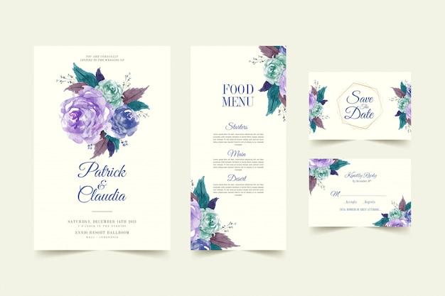 バラの花と葉のプレミアムベクトルと花の結婚式の招待カードテンプレートのセット