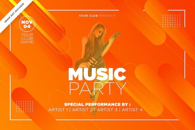 オレンジ色の音楽パーティーテンプレート