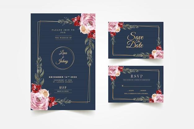 美しいダークブルーの花のフレームの結婚式の招待カードテンプレート