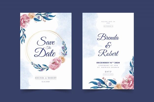 美しい青い花のフレームの結婚式の招待カードテンプレート