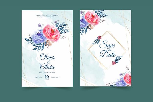 Красивая синяя и красная цветочная рамка свадебного приглашения