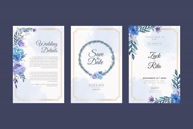 Красивая синяя цветочная рамка свадебного приглашения