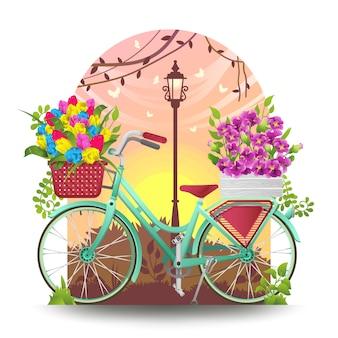自転車と春の花でいっぱいのバスケットのイラスト