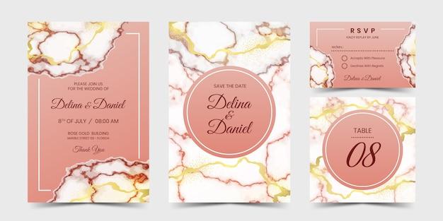 Розовое золото мрамор приглашение