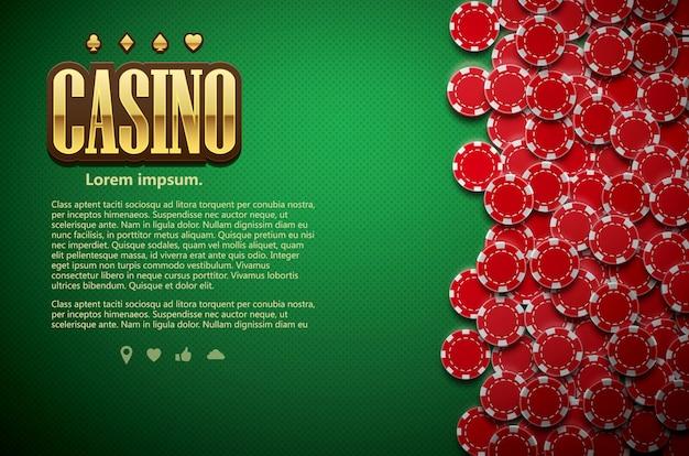 Покер зеленые настольные карточки и чипы реалистичный вид темы