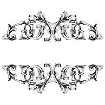 ヴィンテージ手描きビクトリア朝またはダマスク織の花の要素。黒と白の刻まれたインクアート。