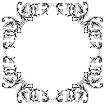 Старинные рисованной викторианской или дамасской цветочный элемент. черно-белые гравированные чернила арт.