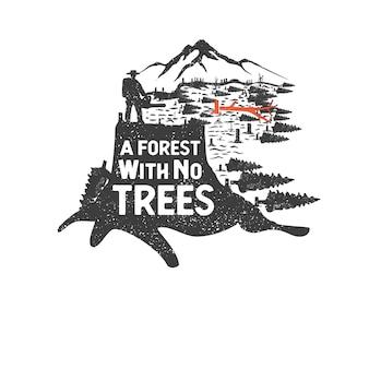 Ручной обращается значок дикой природы с горным пейзажем и вдохновляющие надписи