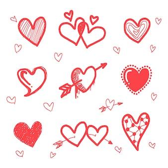 手描きのグランジ赤い心のセット