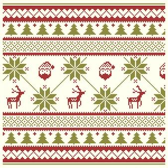 クリスマスのニットパターン