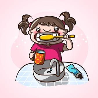 彼女の歯を磨く少女