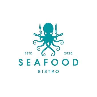 Шаблон логотипа бистро из осьминога с морепродуктами