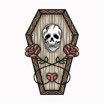 死んだ愛のバラの頭蓋骨のタトゥーのデザイン