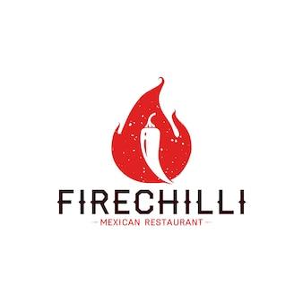 Шаблон логотипа чили пламени