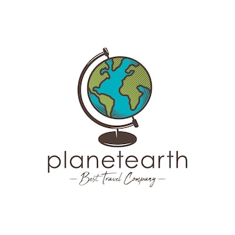 世界惑星地球のロゴのテンプレート