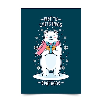 Поздравительная открытка с рождеством и белым медведем