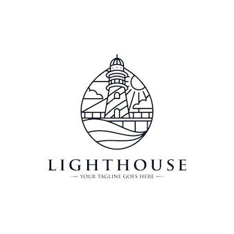灯台ラインアートのロゴのテンプレート