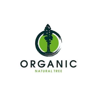 Шаблон логотипа органического натурального дерева