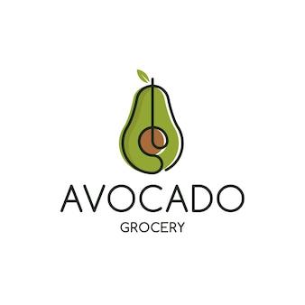 アボカド食料品のロゴのテンプレート