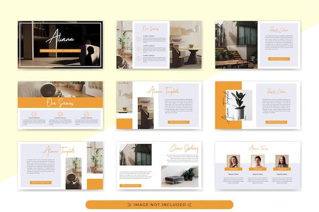 企業や企業のプレゼンテーションテンプレート。シンプルでミニマリストでエレガントなオレンジ色のデザインを採用しています。