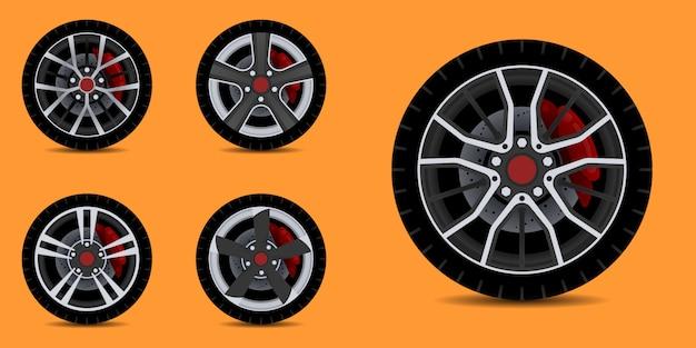 Обода спортивного автомобиля. коллекция автомобильных шин.