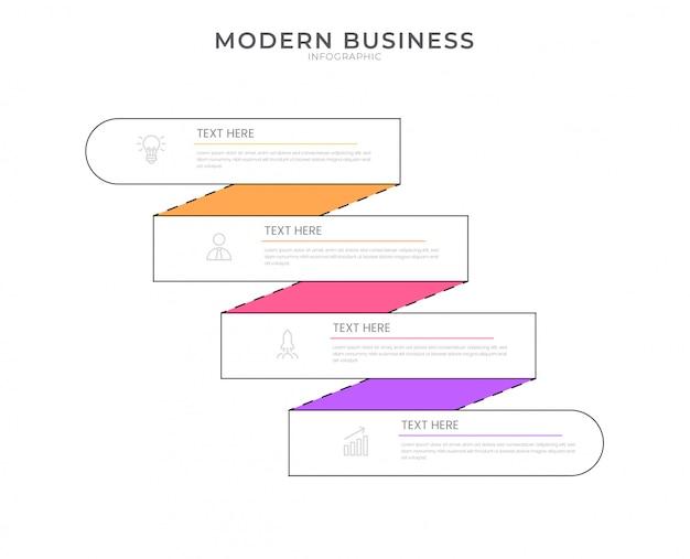 編集可能なテキストとフラットインフォグラフィックデザイン組織図プロセステンプレート。
