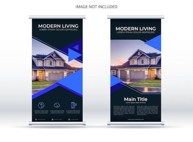 Бизнес вертикальный баннер с синим геометрическим и темным