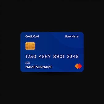 青い色のクレジットカードのデザインテンプレート