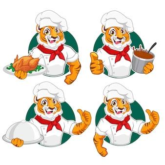 Тигр шеф-повар персонаж мультфильма в векторе