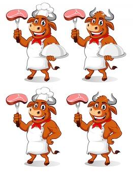 Буффало шеф-повар талисман мультфильм