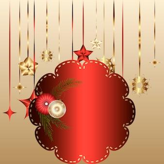 赤いフレームと装飾とクリスマスカードのためのテンプレート