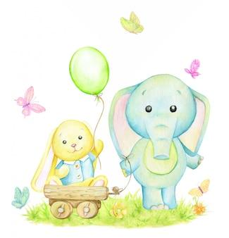 バニー、黄色、象、青、風船、蝶。水彩イラスト