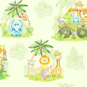 Тропические животные, растения, цветы, внедорожник .. акварельный стиль
