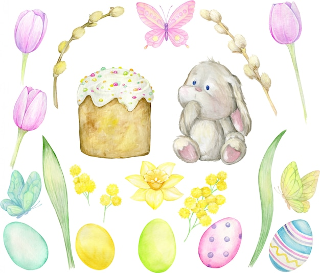 水彩。ウサギ、イースターケーキ、柳、花、卵、蝶。