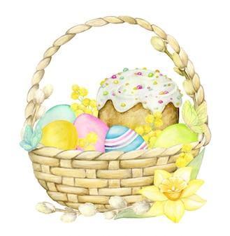 Акварель, концепция пасхи, на изолированной предпосылке. корзина, кулич, ветки ивы, яйца, цветы.