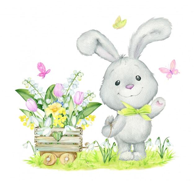 Милый зайчик, акварель, концепция весна, цветы.