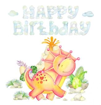 Динозавр, бегущий, на фоне вулкана и надписи, с днем рождения, растений, камней и яиц. акварель приветствие концепции.