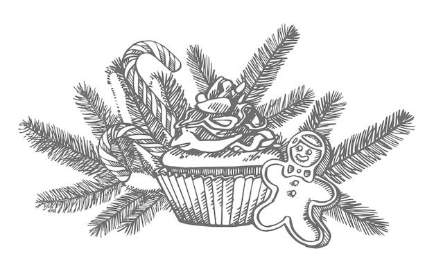 Рождественские сладости и ветки елки. рисованной иллюстрации новый год и рождественские элементы дизайна. , старинные иллюстрации