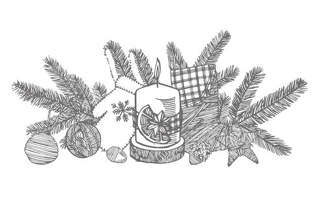 Рождественская варежка, носок, звезда и шишка. рисованной иллюстрации новый год и рождественские элементы дизайна. , старинные иллюстрации