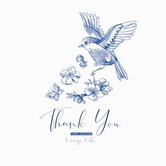 Весенняя открытка, голубые цветущие ветки вишни, птица