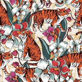 タイガー、咲く蘭との自然なシームレスパターン。