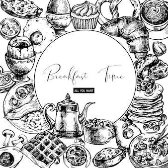 ビンテージ食事ラウンドフレーム、朝食オブジェクト、食品トップビュー