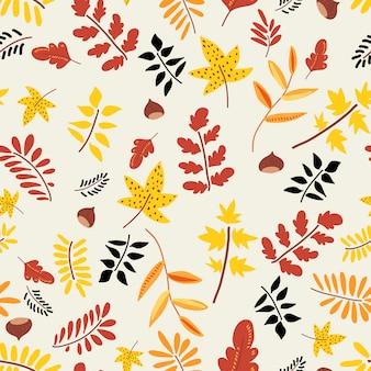秋の自然なシームレスパターン。
