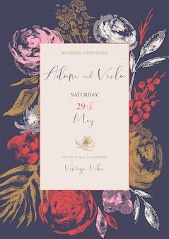 自然な垂直フレーム、グリーティングカード、ヴィンテージのバラとヴィンテージの花の花束