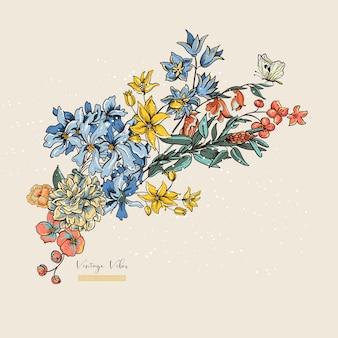 Старинные векторные цветочные открытка. оформление свадебного приглашения, натуральная иллюстрация